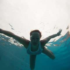 Underwater in a pool