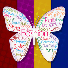 Fashion Butterfly Over Colorful Background