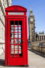 Red Telephone Box and Big Ben in London © chrisdorney