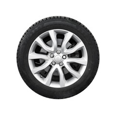 New shiny automotive wheel on light alloy disc isolated