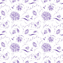 Purple Watercolor Floral Pattern