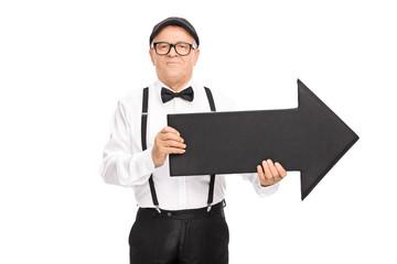 Elegant senior gentleman holding an arrow