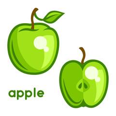 Stylized illustration of fresh apple on white background