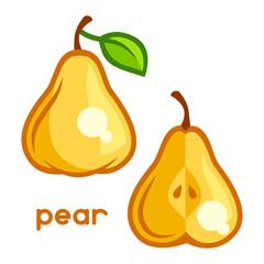 Stylized illustration of fresh pear on white background