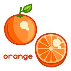 Stylized illustration of fresh orange on white background