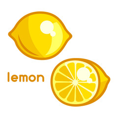 Stylized illustration of fresh lemon on white background