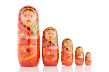 Five red Babushka