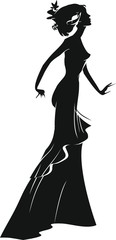 Silhouette of woman in a evening dress