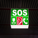 Sos placard on subway station - concept image