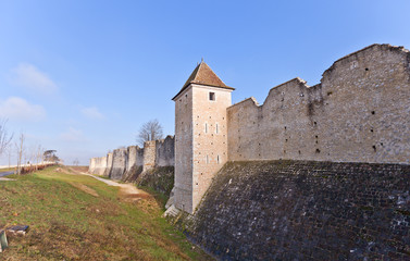 Medieval ramparts (XIII c.) in Provins France. UNESCO site