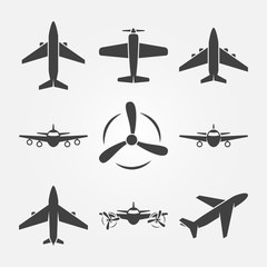Plane black vector icons