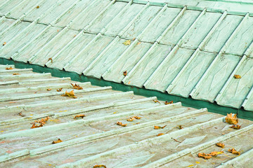 Detail of an old copper roof of the 18th century (Austria)
