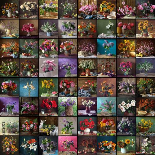 Натюрморт, коллаж, цветы, букет. Фон.
