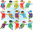Set of Boy Superheroes in Vector Format - 81725573