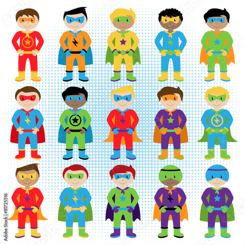 Set of Boy Superheroes in Vector Format - 81725516