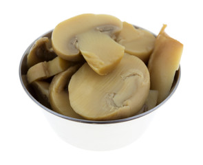 Canned Mushrooms In Small Serving Bowl Side