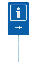 Info sign blue, white i letter icon right hand arrow