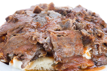 Close-up of traditional Turkish food iskender kebab
