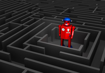 Old Tin Robot In Maze