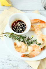 Boiled tiger shrimps on a plate