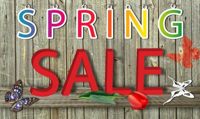 letter spring sale on wood background