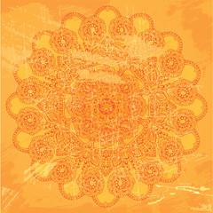Abstract circle lace pattern on orange grunge background - image