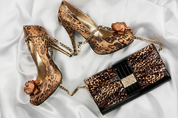 Leopard bag and shoes  lying on white  fabric