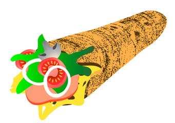 Vector illustration. Shawarma.