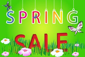 letter spring sale on green background