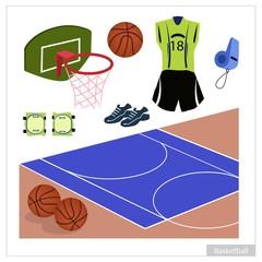 Set of Basketball Equipment on White Background