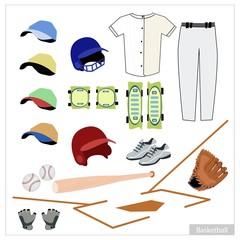 Set of Baseball Equipment on White Background