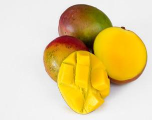 Tropical Fruits: Three Mangos White Background Not Isolated