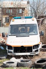 Crashed ambulance van