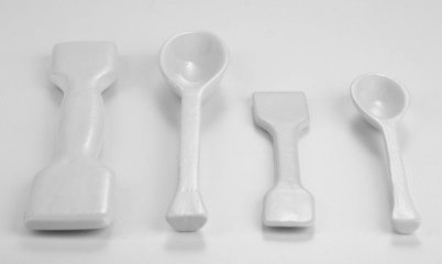 Laboratory spatulas isolated on white