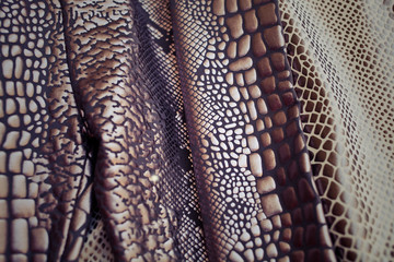 texture of fabric striped snake leather for background