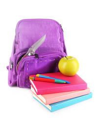 Knife in school backpack, isolated on white