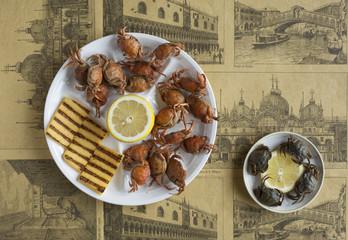italian food: moeche with polenta