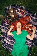 Creative Portrait of Beautiful Redhead Woman