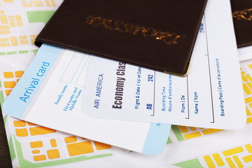 Airline tickets and documents, closeup