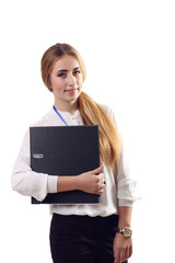 Business woman hold paper folder. Smiling female model isolated