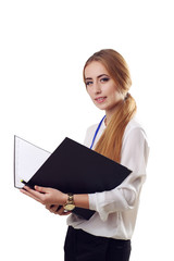 Smiling Young  American Businesswoman Holding Folders on Isolate