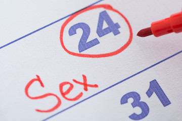 Date Marked For Sex On Calendar