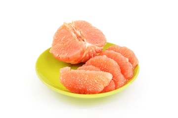 Peeled grapefruit on a white background