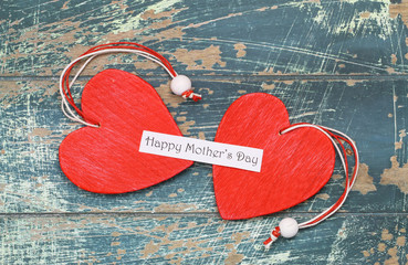 Happy Mother's day card with two red hearts