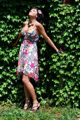 Beautiful woman in sundress