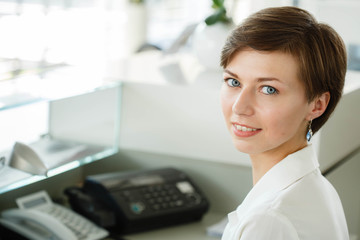 business woman in office on work place
