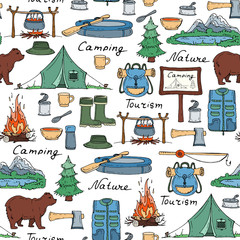 Vector pattern with hand drawn tourism and camping symbols