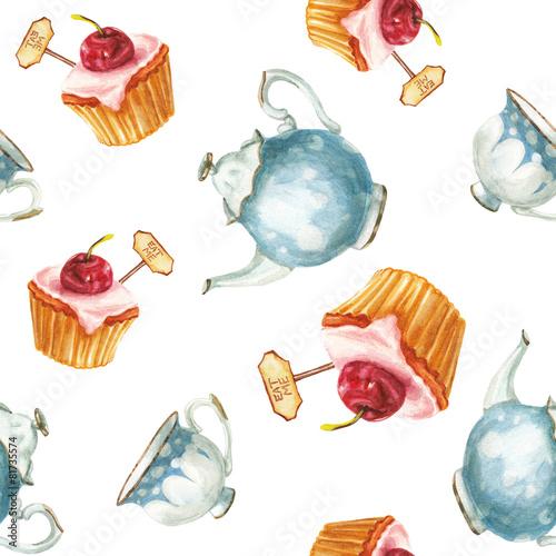 Cotton fabric watercolor cake and tea set