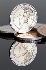 Two Euro Coins (on Dark Mirror Background)