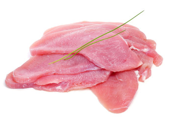 raw turkey fillets on a white background